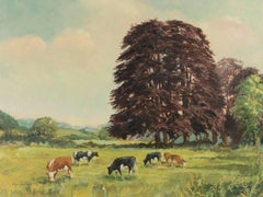 Reg Gardner - Signed 1979 British Oil, Cows in a Landscape