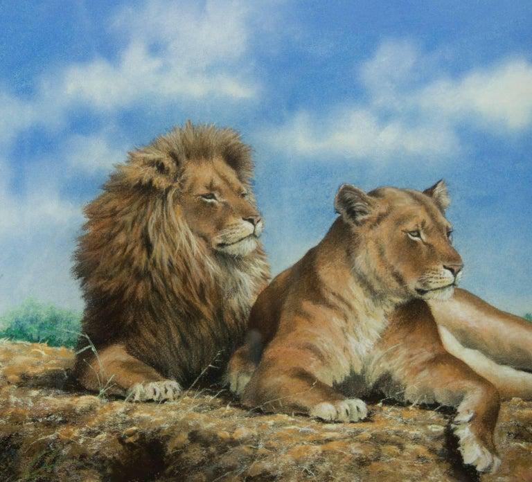 John Seerey-Lester (b.1945) - Signed & Framed British 1979 Pastel, Lions - Beige Animal Art by John Seerey-Lester