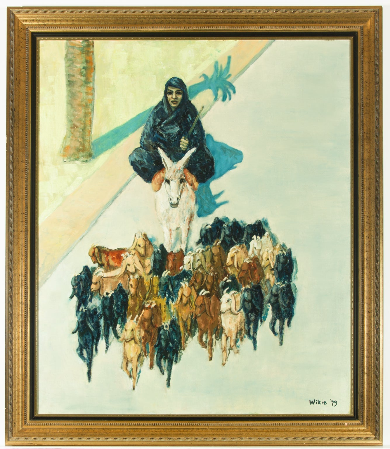 Wikie - Signed and Framed 1979 Oil, Goatherd with Flock