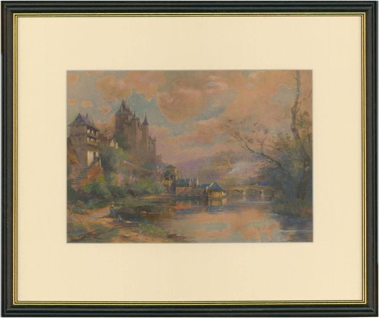 Maurice Levis Landscape Painting - Maurice Lévis (1860-1940) - French Watercolour, Chateau on a Riverside