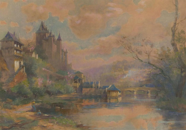 Maurice Lévis (1860-1940) - French Watercolour, Chateau on a Riverside - Painting by Maurice Levis
