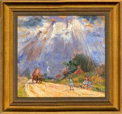 Jean Dryden Alexander (1911-1994) - Mid 20th Century Oil, Girls on a Roadside