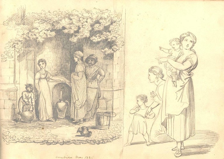 A fine album of approximately 17 drawings executed in graphite, pen and ink and watercolour, depicting scenes at Blake Hall, Tivoli, Italy, portraits and studies after Raphael. All pages are inscribed with description and dates. The inside front