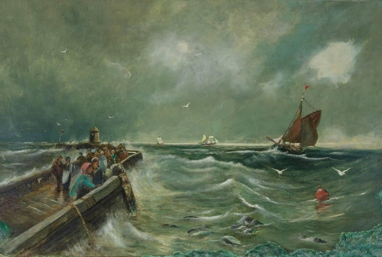 Arthur Wellesley Cottrell - 1893 Signed Seascape Oil, Wild Weather