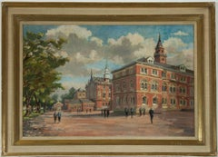 Campbell - Large Signed 1973 Modern British Oil, Dulwich College, England