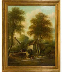 George Harris (1855-1936) - Large Signed English Oil, Snuff Mill near Bristol