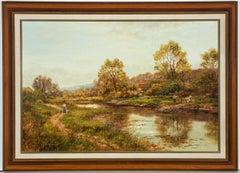 Jean Hamilton George (b.1948)- 20th Century Oil, River Landscape with Dog Walker