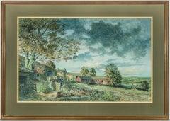 Jim Robinson - Signed & Framed 20th Century English Oil, Farmyard Landscape
