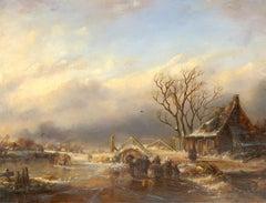 Attrib. Johann Joseph Hartmann (1753-1830) - 1820 Oil, Dutch Winter Landscape