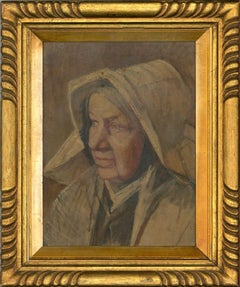 Framed Continental School 19th Century Oil - Portrait of an Old Woman