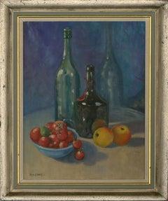 Rita Greig (1918 - 2011) - Framed 20th Century Oil, Still Life with Wine Bottles