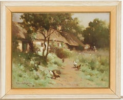 Robert Russell MacNee - 20th Century Signed Scottish Oil, Cottage with Chickens