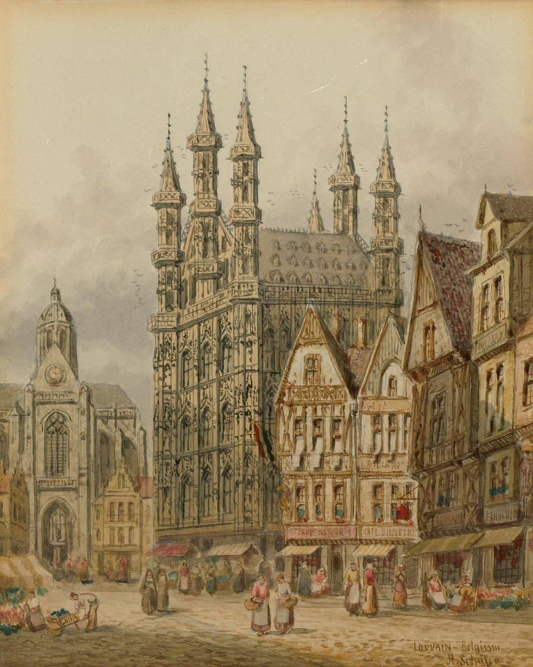 Henry Thomas Schaffer - Signed Victorian Watercolour, Louvain Market Scene - Beige Figurative Art by Henry Thomas Schaffer