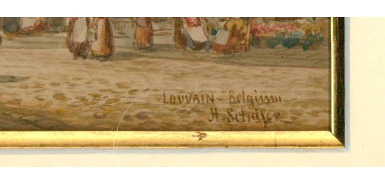 Henry Thomas Schaffer - Signed Victorian Watercolour, Louvain Market Scene For Sale 1