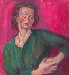 Clare Winsten (1894-1989) - British Oil, Self Portrait after Isaac Rosenberg
