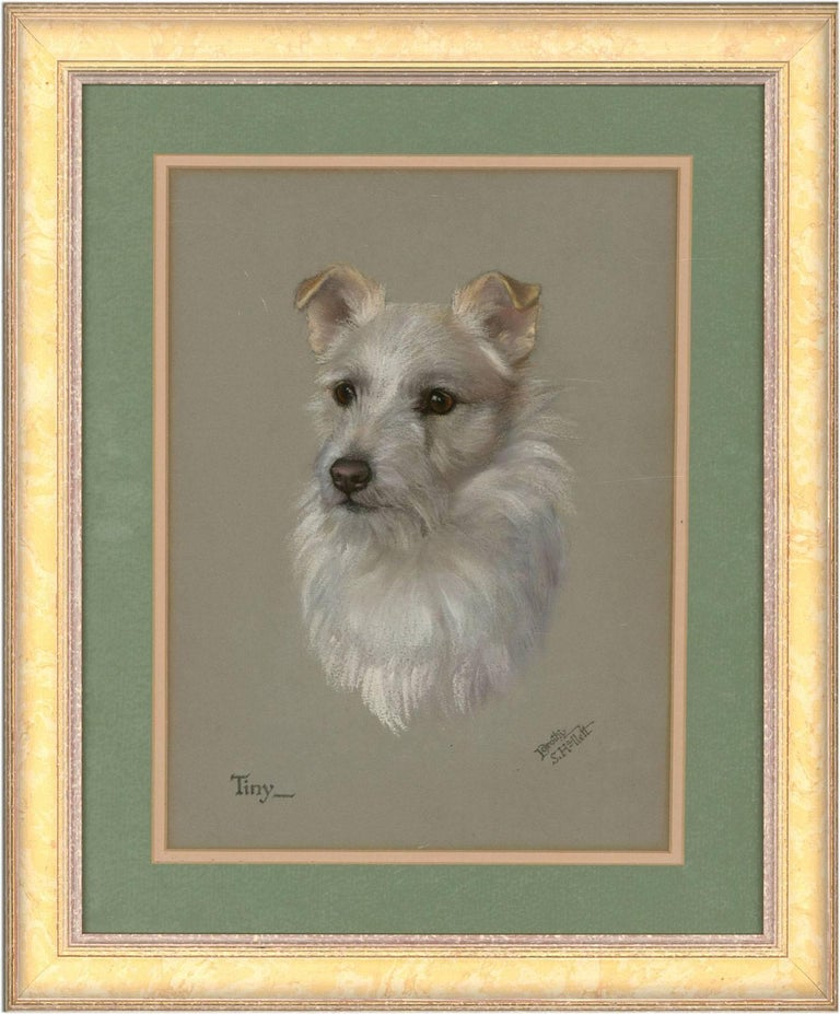 Dorothy S. Hallett - Early 20th Century Dog Pastel, Portrait of a Terrier 'Tiny'