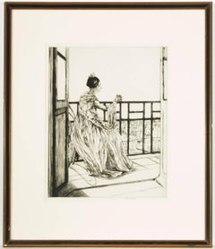 Ethel Gabain - Mid 20th Century Signed French Etching, Portrait of a Seated Lady