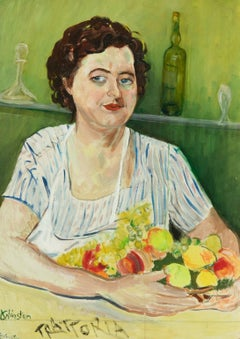 Clare Winsten (1894-1989) - Signed 1961 English Oil, Portrait of Lady With Fruit