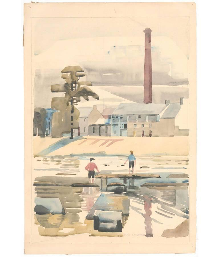 Edith Mary Lawrence - Signed 1930 British Coastal Watercolour, The Mill Langholm - Realist Art by Edith Mary Lawrence