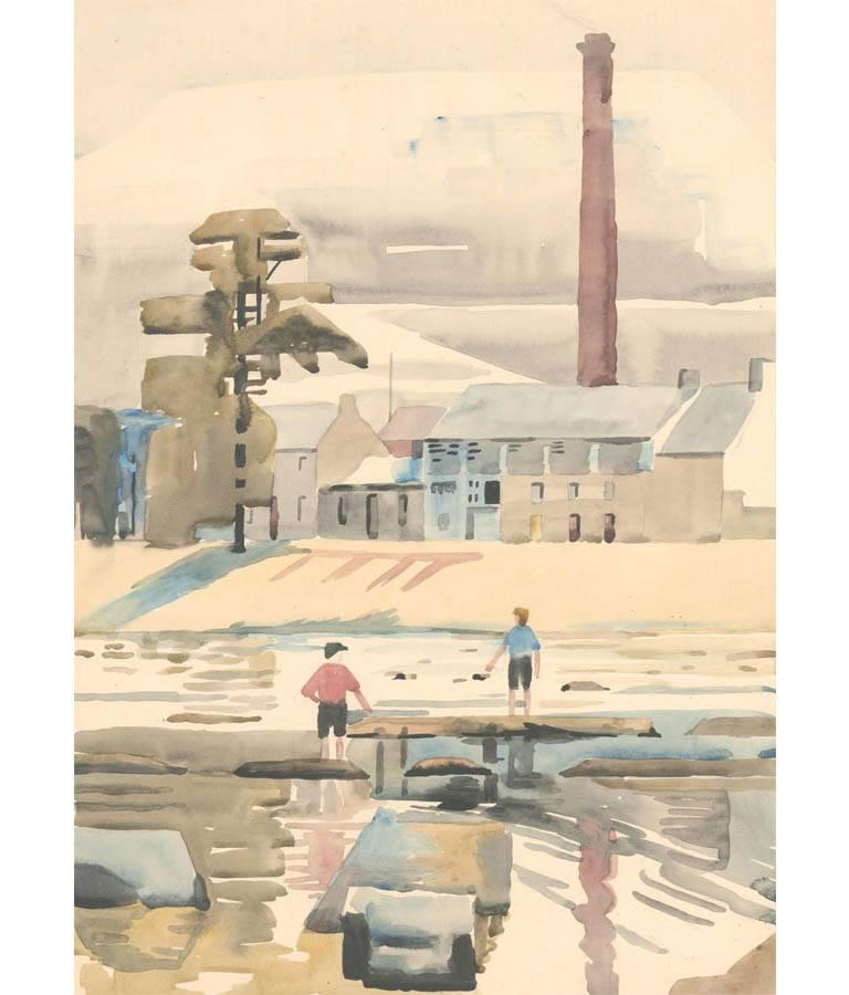 Edith Mary Lawrence - Signed 1930 British Coastal Watercolour, The Mill Langholm - Art by Edith Mary Lawrence