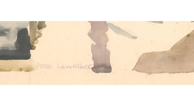 A fine modernist watercolour by the listed British artist Edith Mary Lawrence. Depicting figures at The Mill, Langholm. Signed in pencil to lower and the location is inscribed on the reverse.    Image Size: 49.7 x 35.1cm (19.6