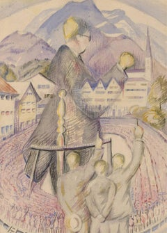 Edith Mary Lawrence - 20th Century Watercolor, Abstracted View of Congregation