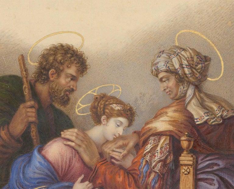 Charles de Chatillon (1777-1844) - 1831 French Religious Watercolour, St. Anne - Orange Figurative Art by Charles de Chatillon