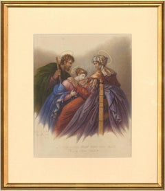 Charles de Chatillon (1777-1844) - 1831 French Religious Watercolour, St. Anne