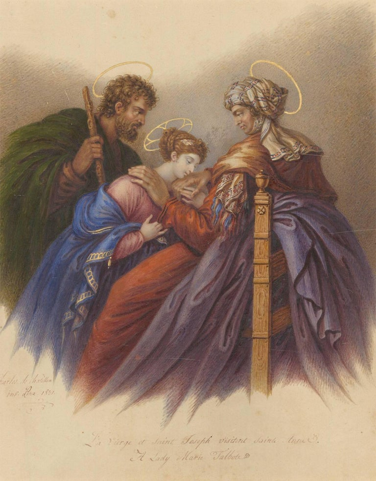 Charles de Chatillon (1777-1844) - 1831 French Religious Watercolour, St. Anne - Victorian Art by Charles de Chatillon