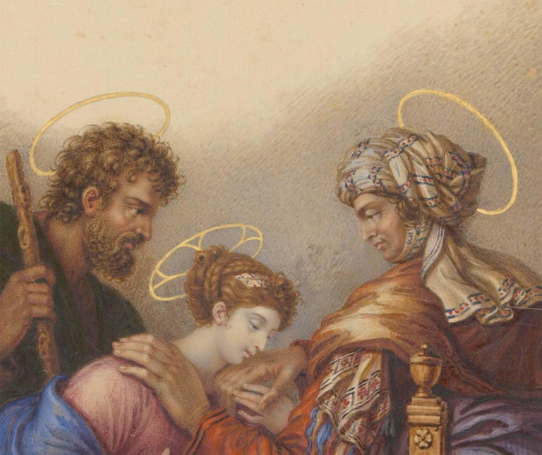 A finely executed 19th century French watercolour of The Virgin and St. Joseph visiting St. Anne. By the Frnech painter Charles de Chatillon (1777-1844), signed and dated 1831 to the lower left. Inscribed to lower margin
