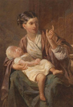 Attributed to F. William Burton - 19th Century Watercolour, Mother and Child