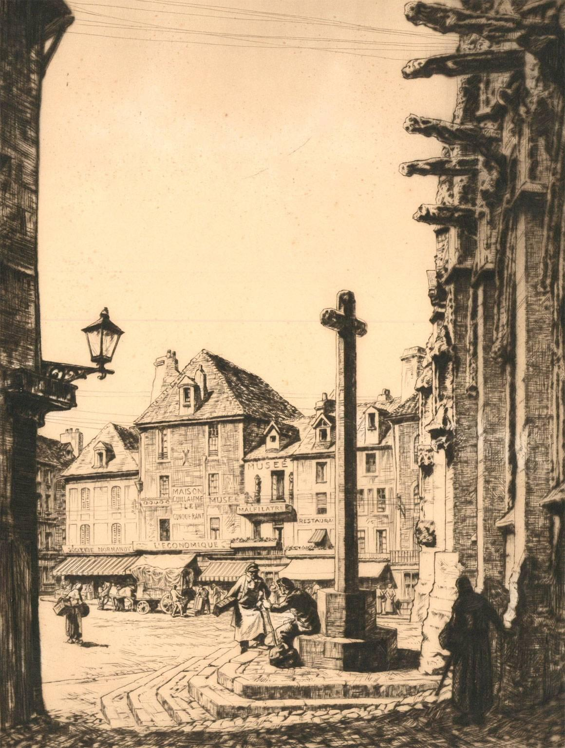 Alfred Charles S. Anderson CBE - 1926 French Etching, Place St Gervaise Falaise