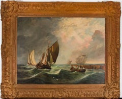 J.S. Wills - Large 20th Century Signed Nautical Oil, Ships on Rough Waters