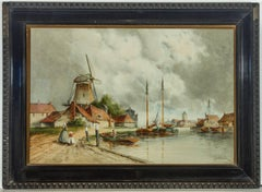 Louis Van Staaten - Signed 19th Century Dutch Watercolour, Dutch Canal Scene