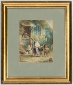 Richard Westall RA  - Signed 1823 English Watercolour, Children by a Cottage