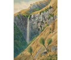 Laurence William Wilson - 1873 Signed English Watercolour, New Zealand Waterfall