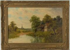 Octavius Thomas Clark - Victorian Gilt Framed Oil, Landscape with Watermill