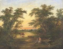 Robert Burrows (1810-1883) - 19th Century English Victorian Oil, River Landscape