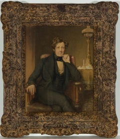 R.W - Framed 19th Century English Watercolour, Portrait of a Victorian Gentleman