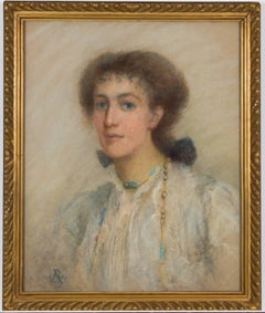 Anata Bowmens - 1901 Signed English Pastel Portrait of Maud Elizabeth Willis