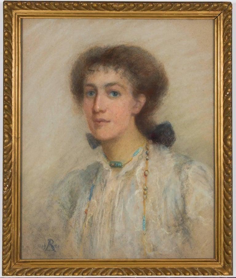 Anata Bowmens - 1901 Signed English Pastel Portrait of Maud Elizabeth Willis - Art by Anata Bowmens