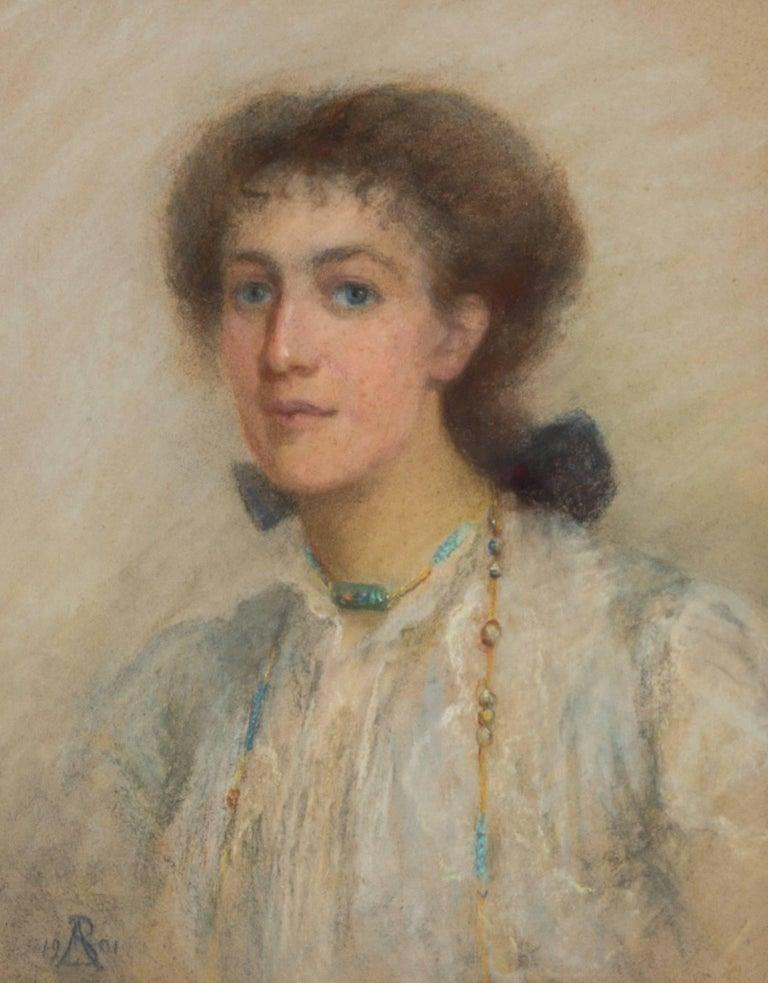 Anata Bowmens - 1901 Signed English Pastel Portrait of Maud Elizabeth Willis - Art Nouveau Art by Anata Bowmens