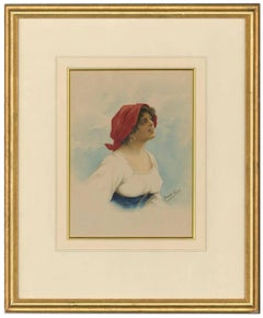Romolo Tessari - Signed Italian 20th Century Watercolour, Portrait of a Woman