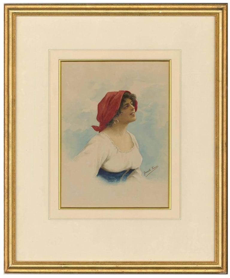 Romolo Tessari - Signed Italian 20th Century Watercolour, Portrait of a Woman - Painting by Romolo Tessari