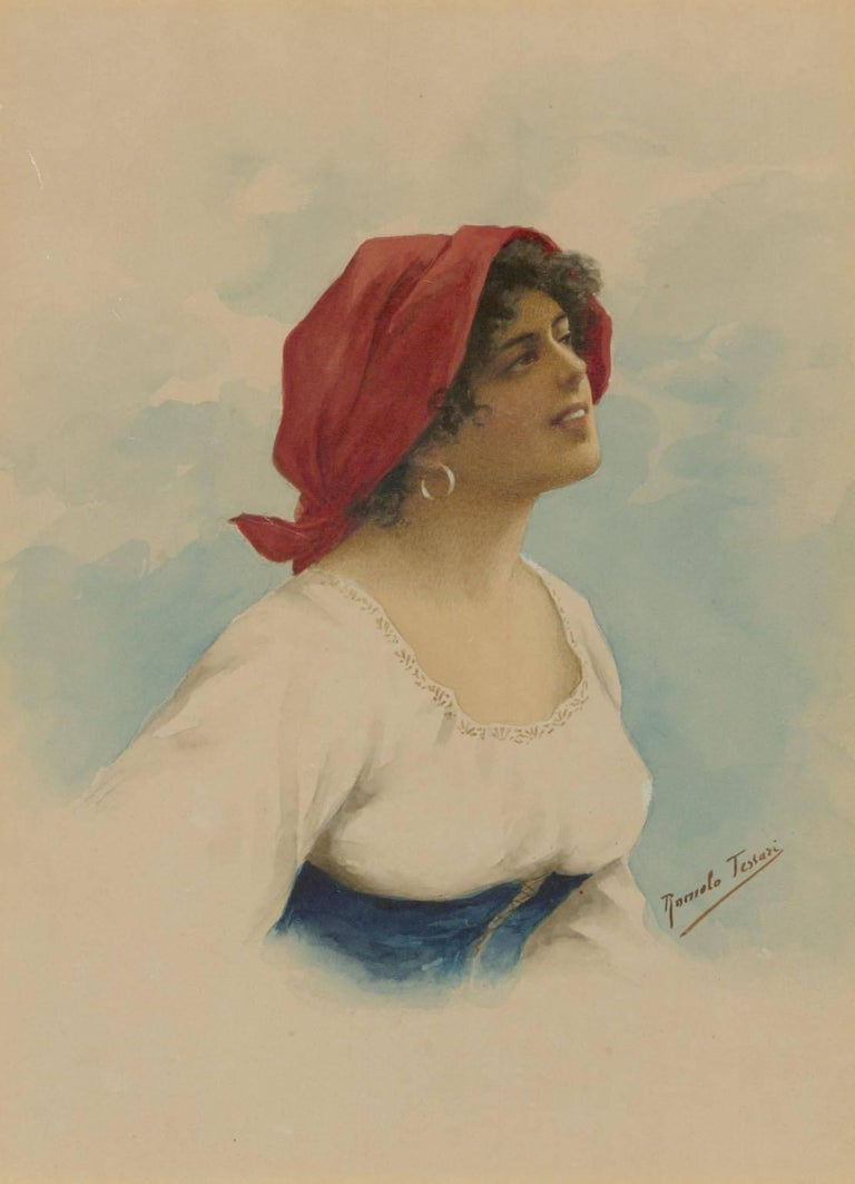 Romolo Tessari - Signed Italian 20th Century Watercolour, Portrait of a Woman - Romantic Painting by Romolo Tessari