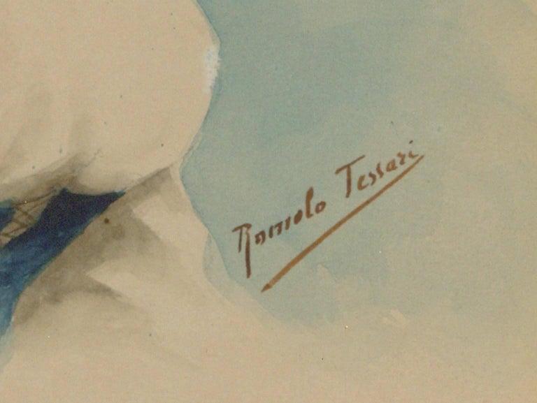 Romolo Tessari - Signed Italian 20th Century Watercolour, Portrait of a Woman - Beige Portrait Painting by Romolo Tessari