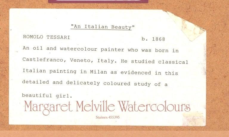 Romolo Tessari - Signed Italian 20th Century Watercolour, Portrait of a Woman For Sale 1
