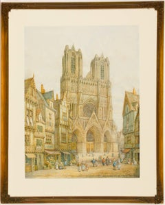 Henry Thomas Schafer - Signed Victorian Watercolour, Rheims Cathedral, France