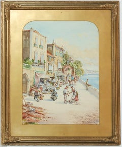 Pablo Martinado (1856-1937) - Signed & Framed Watercolour, Italian Market Scene