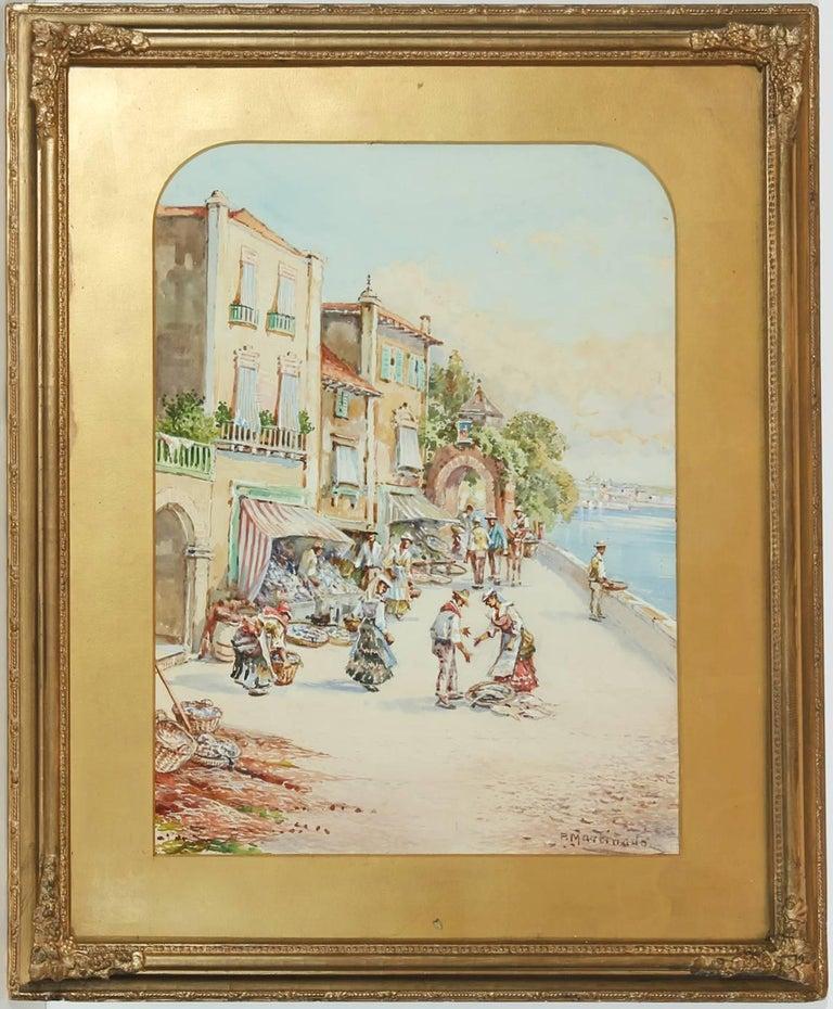 Pablo Martinado (1856-1937) - Signed & Framed Watercolour, Italian Market Scene - Art by Pablo Martinado